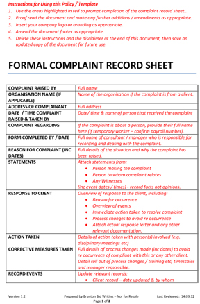 customer complaint form template shop archive all documents free documents complaint record form