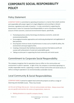 Company policy template company hr policy templates corporate social responsibility policy fbccfo Gallery