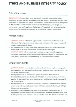 Company policy template business integrity company policy template for recruitment agencies fbccfo Gallery