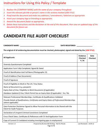 Free Checklist For Recruitment Agencies For Auditing