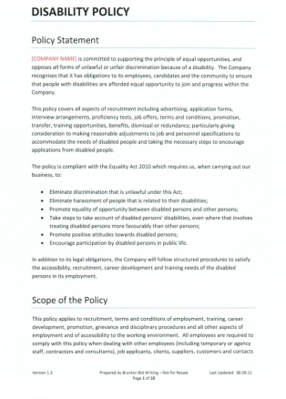 Writing Policies And Procedures Template Disability Policy Template For Recruitment Agencies