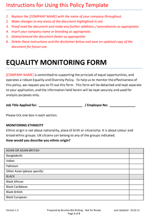 Free equality monitoring form company policy template for for Diversity policy template