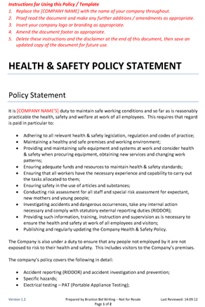 Health and safety policy statement brunton bid writing for Health and safety statement of intent template