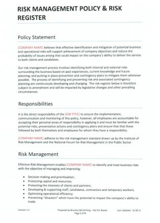 risk management policy risk register