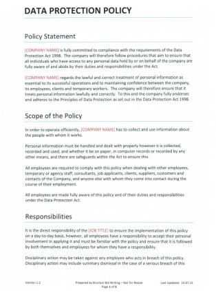 Attractive Data Protection Template Crest - Resume Ideas - namanasa.com