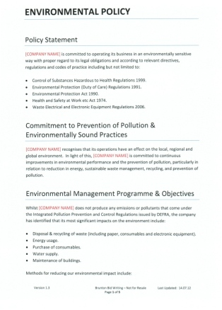 Company Policies And Procedures Template Environmental Policy