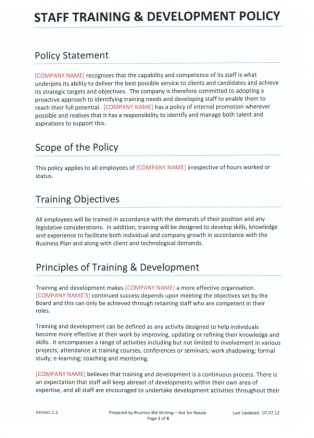 Writing Policies And Procedures Template Training Development Policy For Recruitment Agencies