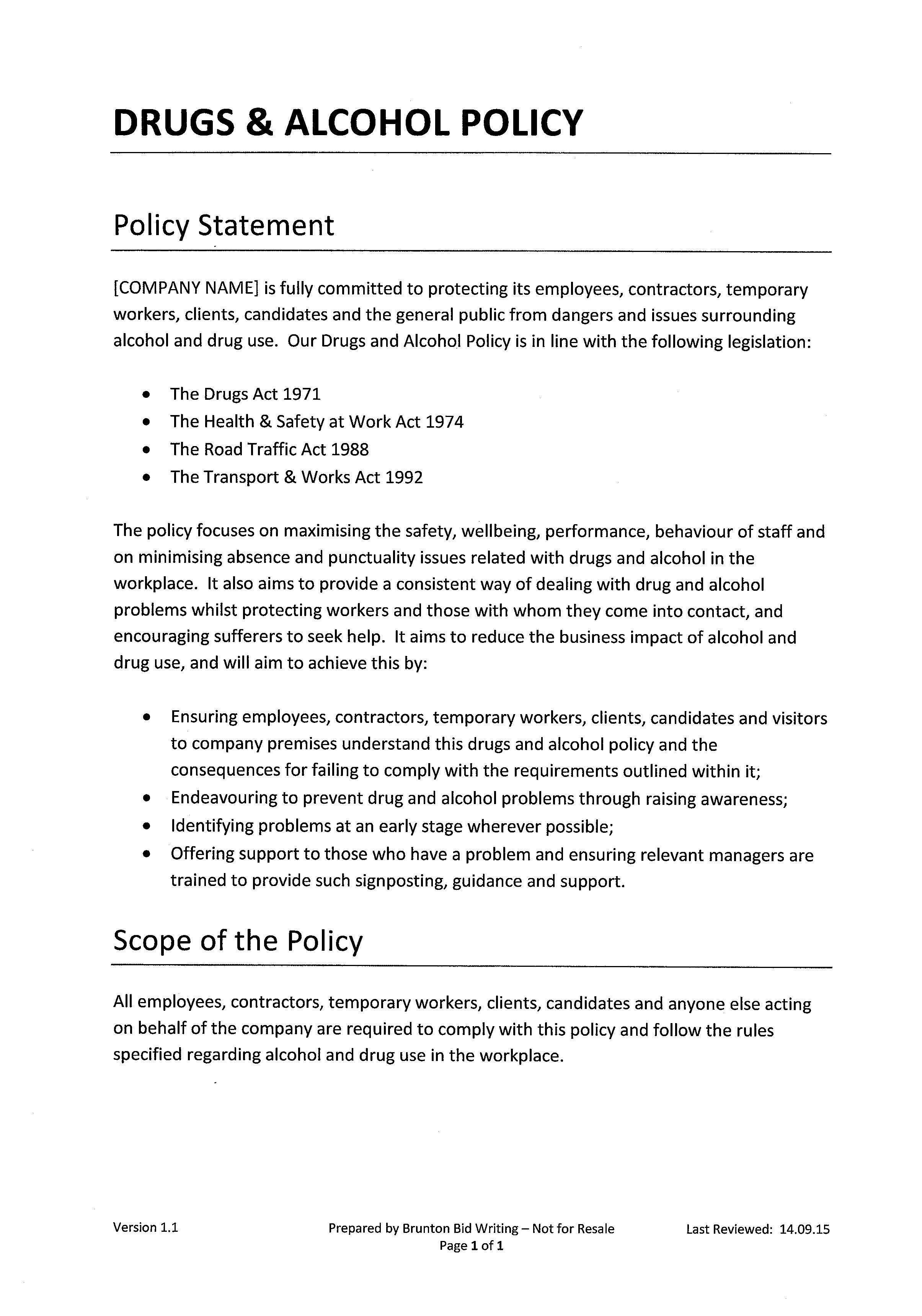 Drugs & alcohol policy brunton bid writing.